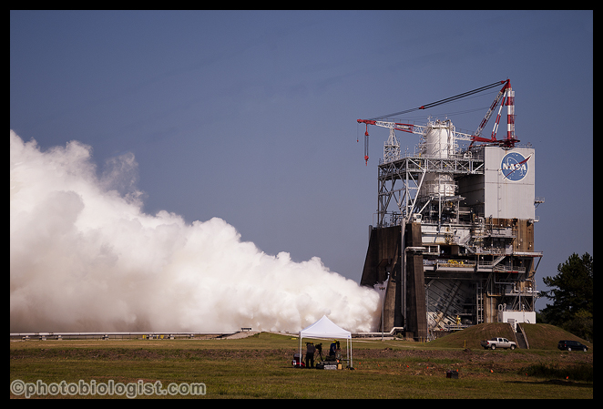 RS-25 rocket engine running in test stand A-1 at Stennis Space Center; we were about 1/4 mile away behind a rope line.