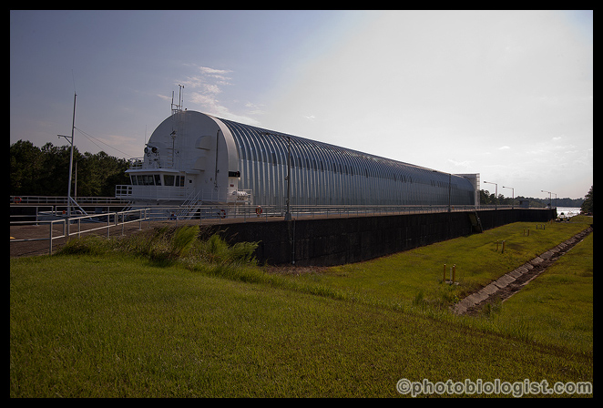 Pegasus, a 310-foot long barge, in the locks at Stennis Space Center.